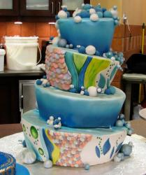 4 tier bubble and scale theme topsy-turvy cake.JPG