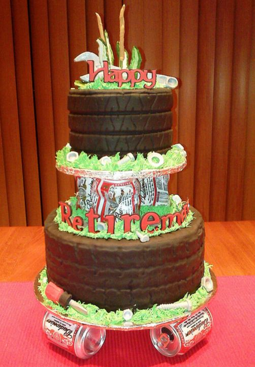 Beer can theme multiple tier chocolate retirement cake.JPG