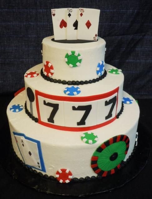 3 tier round white poker theme birthday cake with poker chips and cards on top.JPG