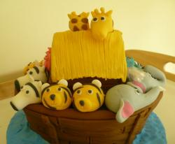 Noah's Ark boat birthday cake with animals.JPG