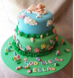 Colorful baptism cake in two tiers.PNG