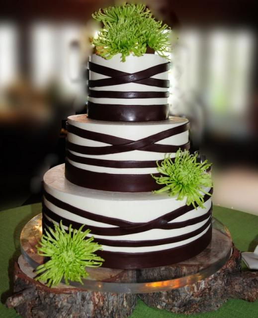 3 Tier Round Wedding Cake With Chocolate Bands And Green FlowersJPG Hi Res 720p HD