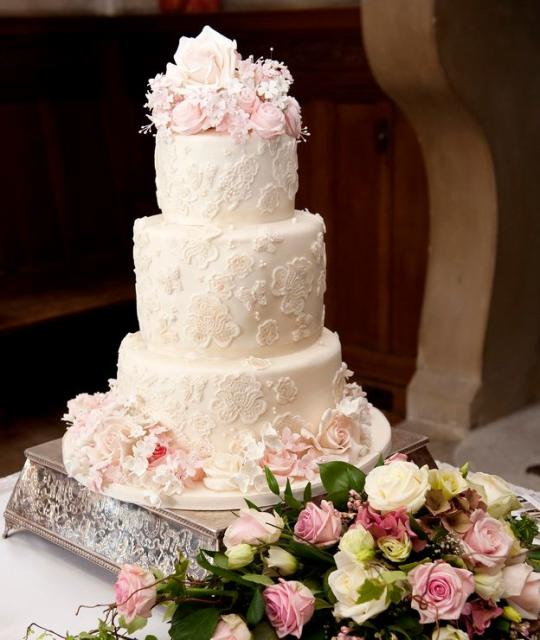 Medium Size 3 Tier Wedding Cake With Floral Pattern And Fresh Pink Roses On TopJPG