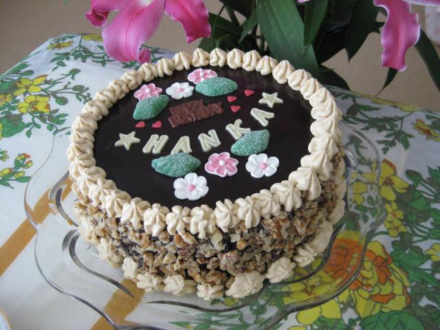 Round Walnut Chocolate Birthday Cake With Coffee Creamg Hi Res