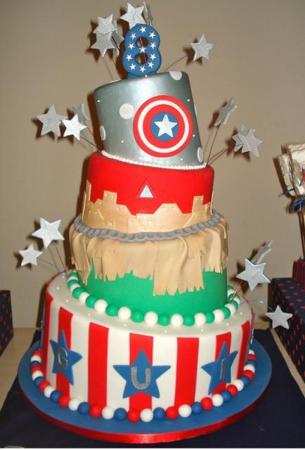 4 tier topsy turvy America theme 8th birthday cake with stripes and stars.JPG