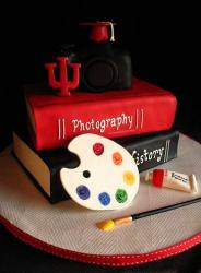 Cool graduation cake with books and painting brush for Arts student.JPG