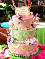 Cool three-tier birthday cake in pink and green.jpg