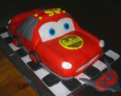 Sculpted Lightning McQueen Cars cake.JPG