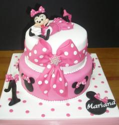 Minnie Mouse 2 tier pink first birthday cake.JPG
