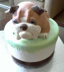 Grooms cake with bull dog puppy on top.jpg
