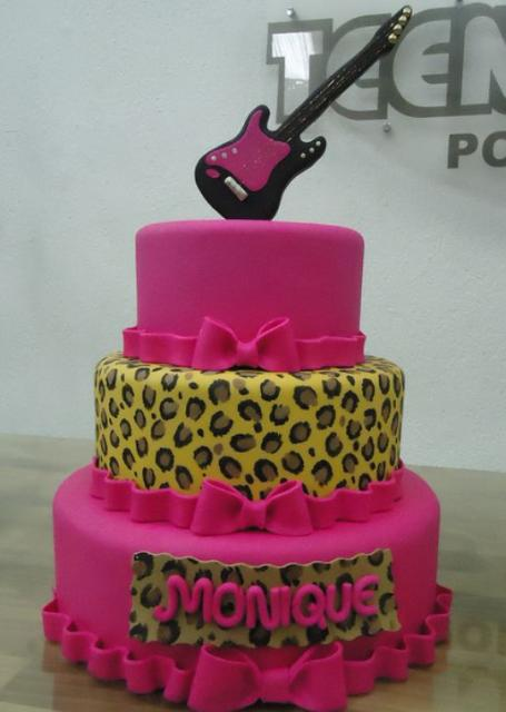 3 Tier Pink Birthday Cake For Teenage Girl With Electric Guitar Topper