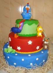 3 tier animal theme cake with chickens and frog.JPG