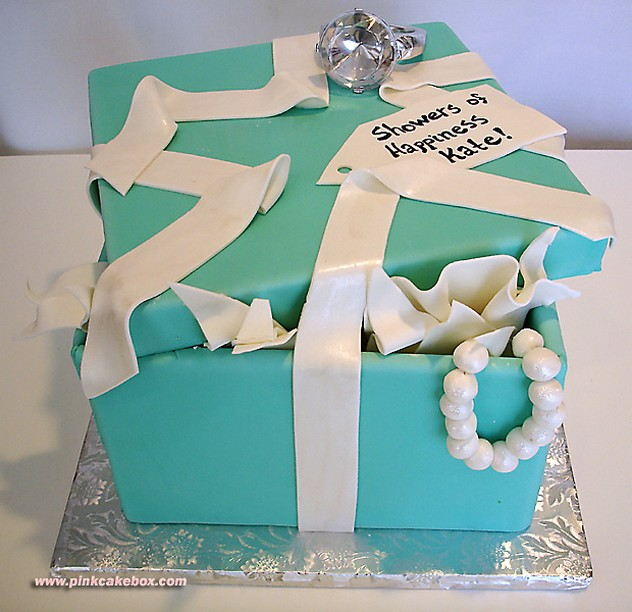Bridal Shower Cake With Box And Jewelry Jpg