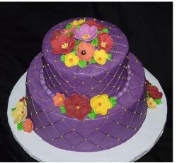 Dark purple bridal shower cake with colorful flowers pictures.jpg