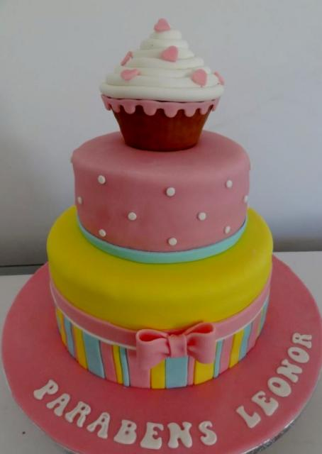 Brilliant 2 Tier Pink And Yellow Birthday Cake For Girl With Cupcake On Top Jpg Funny Birthday Cards Online Ioscodamsfinfo