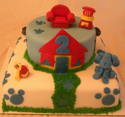 Blues Clue cake with friends of Blues Clues cake toppers.PNG