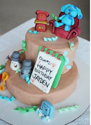 Modern toddler birthday cakers ideas_Blues Clues sitting on the Thinking Chair and surrounding with friends.PNG