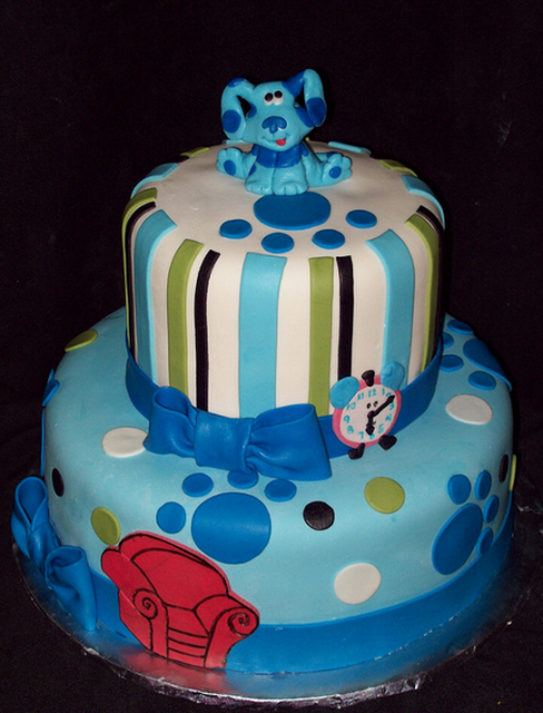 blue birthday cake two tiers blues clues with thinking chair and tickytity as 1922