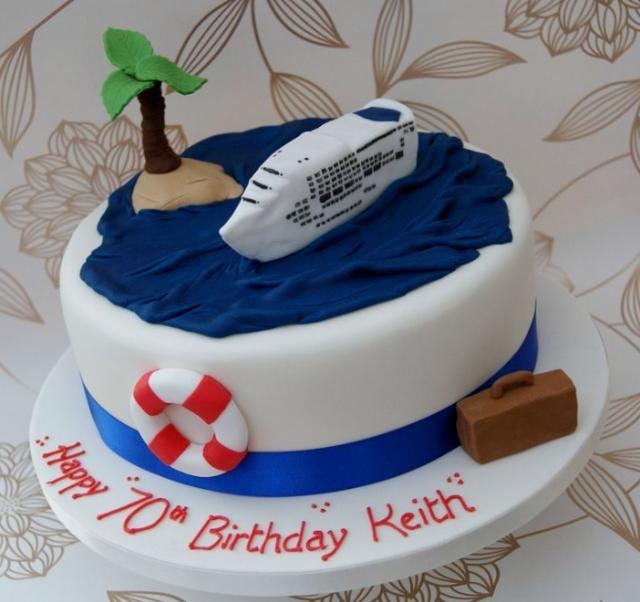 White cruise ship theme 70th birthday cake.JPG