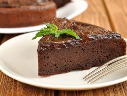 Chocolate cake slice with mint.JPG