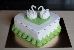 White Heart-shaped Valentine's Day Cake with Twin Swans.JPG