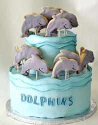 2 tier ocean blue round cake with dolphins on sticks.JPG