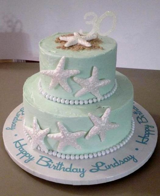 Two Tier Sea Star Amp Beach Sand 30th Birthday Cake Jpg