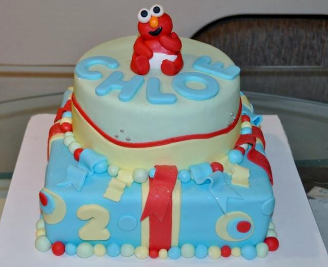 Baby Elmo First Birthday Cake 2 tiers.JPG