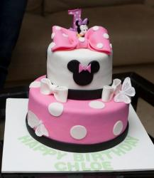 Minny Mouse 2 tier First Birthday Cake.JPG