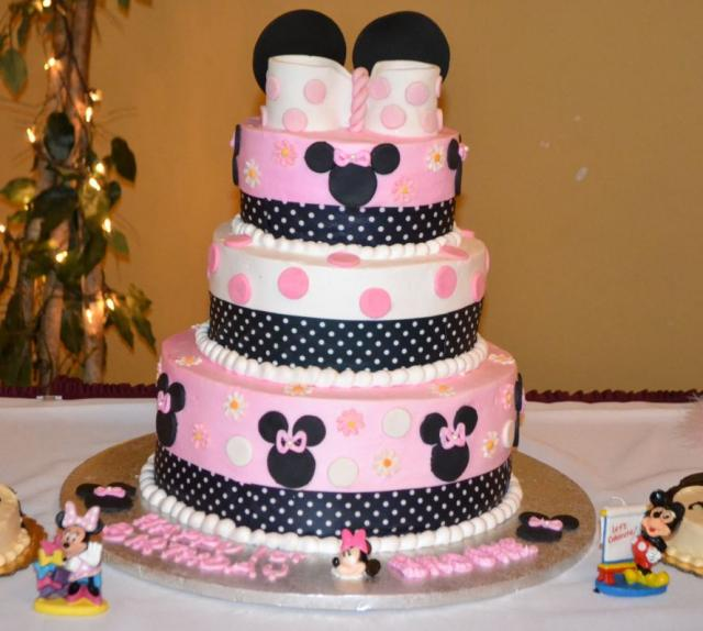 tier pink Minnie Mouse theme first birthday cake.JPG (1 comment) Hi ...