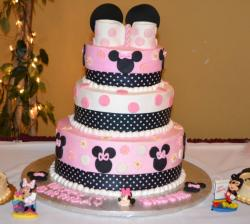 3 tier pink Minnie Mouse theme first birthday cake.JPG