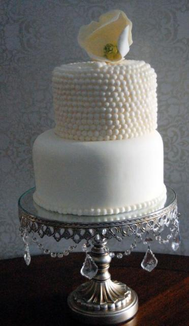 2 Tier White Round Wedding Cake With Pearl Beaded Second And Shell Topper Jpg