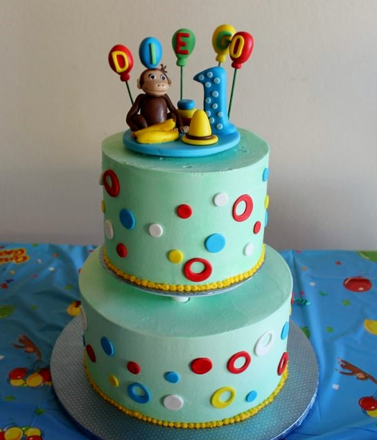 Cool Curious George 2 Tier Blue First Birthday Cake Jpg Funny Birthday Cards Online Sheoxdamsfinfo