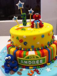 Two tier baby Elmo and baby Cookie Monster cake.JPG