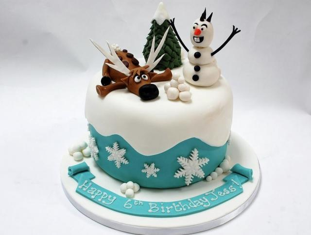 Marvelous Winter Theme 6Th Birthday Cake With Snowman Moose Jpg Hi Res 720P Hd Funny Birthday Cards Online Overcheapnameinfo