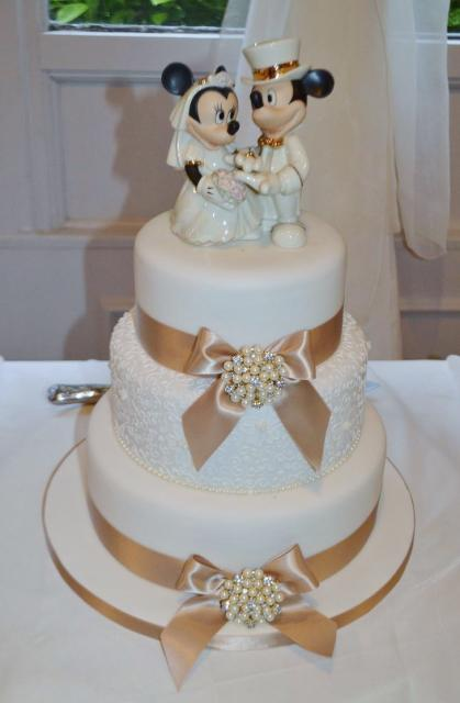 3 Tier Wedding Cake With Mickey Amp Minnie Mouse Topper Jpg