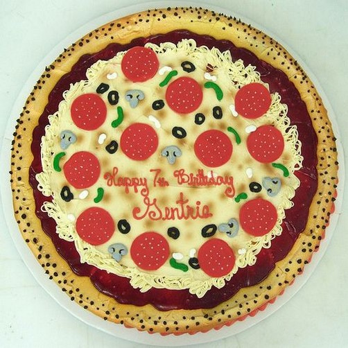 Pizza birthday cake with pepperoni olives and mushrooms.jpg