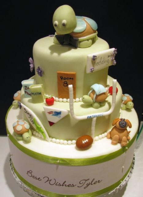 Three tier grooms cake in children's school and sports theme.JPG