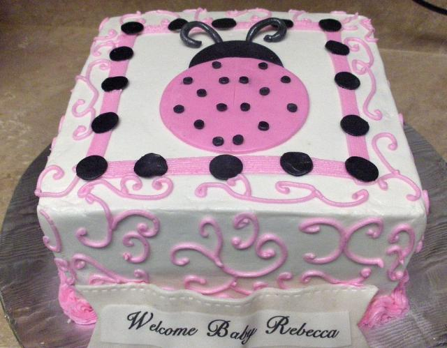 Pink And Black Ladybug Baby Shower Cake.JPG
