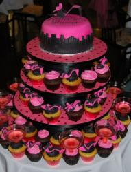 Sex and the City theme bridal shower cake and cupcakes.JPG