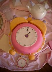 Bridal shower pink alarm clock cake.JPG