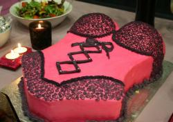 Black lingerie red bridal shower cake.JPG