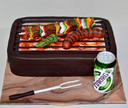 Kabob & Hot Dog on Grill Father's Day Cake with Beer Can.JPG