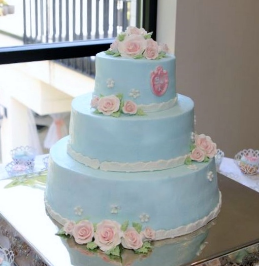 3 Tier Powder Blue Wedding Cake with Light-pink Roses.JPG