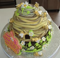 Cool bee hive birthday cake with chocolate and cream swirls.JPG