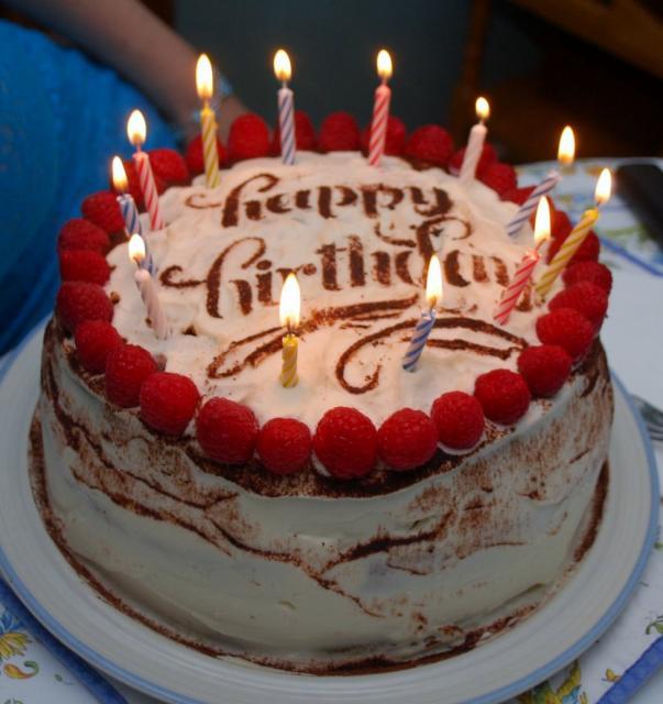 Mocha White Cream Birthday Cake with Fresh Rasberries ...