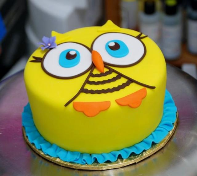 Yellow Round Owl Face Cake Jpg