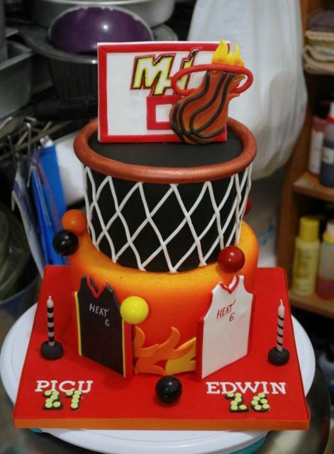 Fabulous Miami Heat Theme Birthday Cake With Backboard Rim Jerseys Jpg Hi Funny Birthday Cards Online Hendilapandamsfinfo