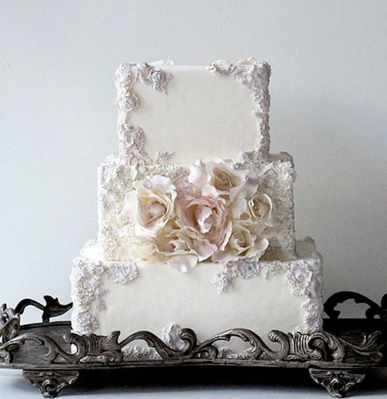 Square Ivory 3 Tier Wedding Cake With White Roses On 2nd