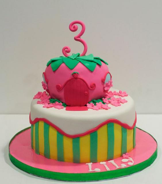 2 tier strawberry house cake for 3 year old girl.JPG